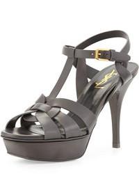Tribute mid heel leather platform sandal dark brown medium 103180