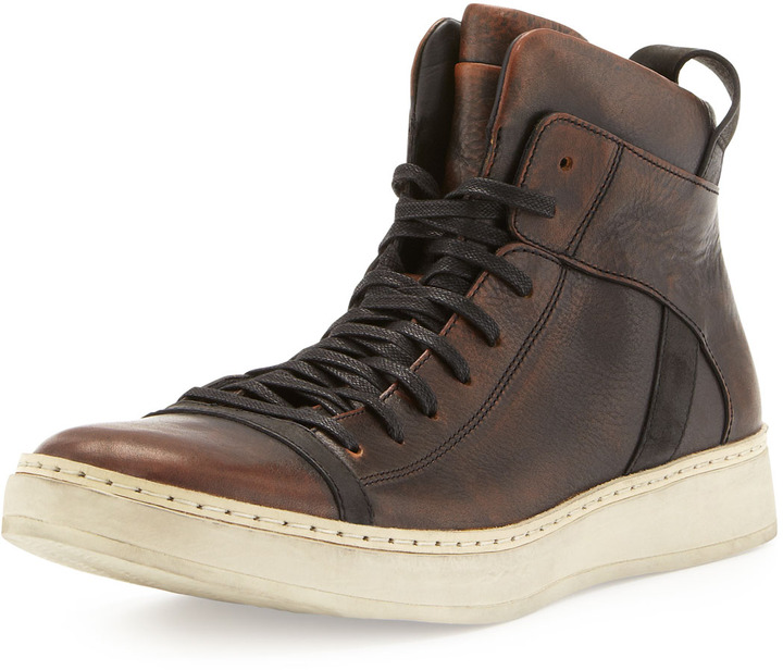 ae6795f41203 John Varvatos Burnished Leather High Top Brown, $450 | Bergdorf ...
