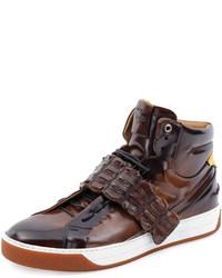 Fendi Croc Strap Wimbeldon High Top Sneaker Brown