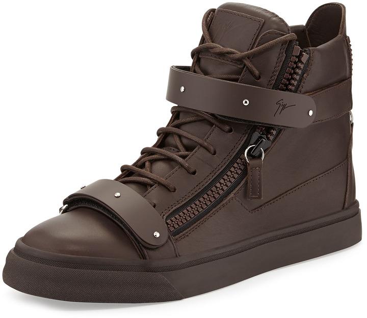 1af304e74c0cd Giuseppe Zanotti Double Strap High Top Sneaker Brown, $995 | Neiman ...