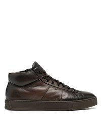 Santoni High Top Leather Sneakers