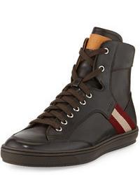 Bally Oldani Leather High Top Sneaker Dark Brown