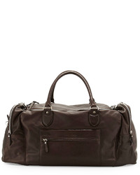 Brunello Cucinelli Buffalino Leather Gym Bag Dark Brown