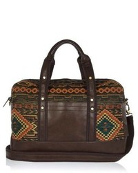 River Island Dark Green Aztec Embroidered Holdall Bag