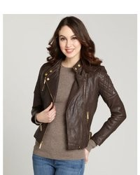 Women's Dark Brown Leather Jacket, Charcoal Crew-neck T-shirt ...
