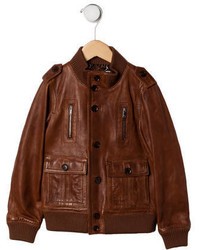 Gucci Boys Leather Bomber Jacket