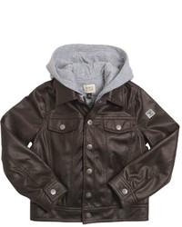 Armani Junior Faux Leather Cotton Interlock Jacket