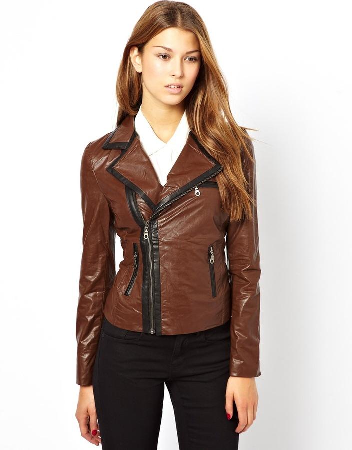 Dark brown leather look biker jacket