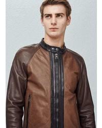Mango Outlet Panel Leather Jacket