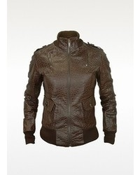 Forzieri Signature Dark Brown Croco Stamped Genuine Leather Jacket