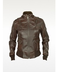 Forzieri Signature Dark Brown Lizard Stamped Genuine Leather Jacket