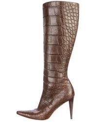 Ralph Lauren Alligator Knee High Boots
