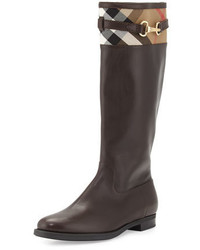 Burberry Dougal Check Trim Leather Knee Boot Chestnut