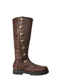 House of Andar Brown Leather Knee High Renaissance Boots