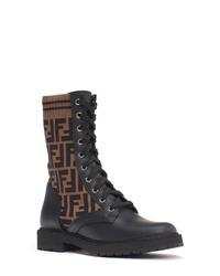 Fendi Rockoko Logo Sock Lace Up Combat Boot