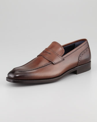 Ermenegildo Zegna Brogue Detailed Penny Loafer Brown