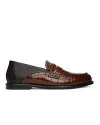 Loewe Brown And Black Slip On Loafers