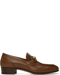 Gucci Brown Web Horsebit Loafers