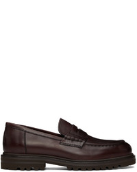Brunello Cucinelli Burgundy Leather Lug Sole Penny Loafers