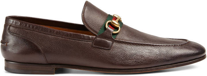 cbb66a257fb Horsebit Leather Loafer With Web. Dark Brown Leather Loafers by Gucci