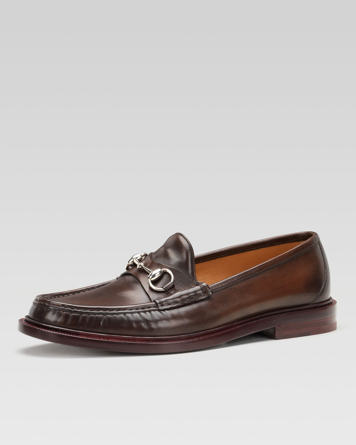 Gucci Legend Leather Horsebit Loafer Brown