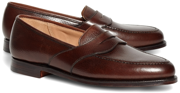 c12b3ef4c9e ... Brooks Brothers Peal Co Dark Brown French Pebble Leather Saddle Strap Penny  Loafers ...