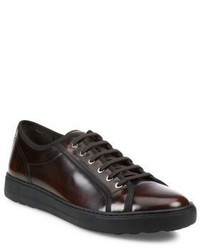 Dark Brown Leather Low Top Sneakers
