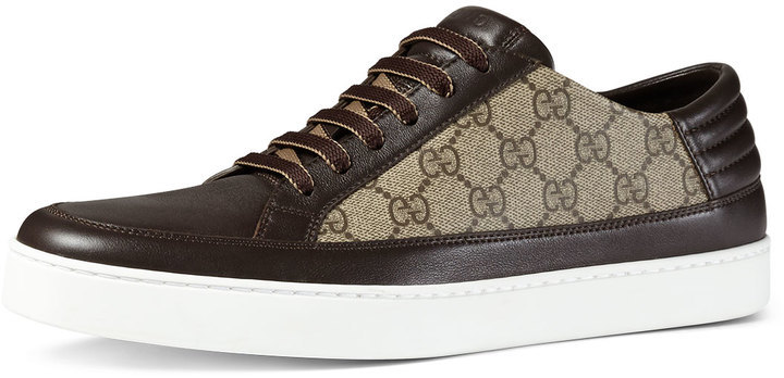 ba9eb5099c3 Gucci Gg Supreme Leather Low Top Sneaker Brown, $465 | Neiman Marcus ...