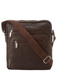 Kenneth Cole Reaction Columbian Leather 225 Single Gusset Top Zip Day Bag Messenger Bags