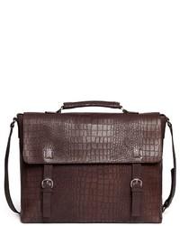 Giorgio Armani Croc Embossed Leather Messenger Briefcase