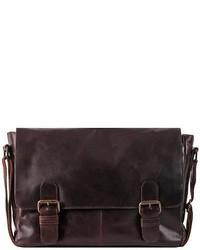 Wilsons Leather Dakota Leather Double Buckle Messenger Bag Brown