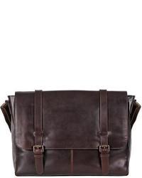 Wilsons Leather Dakota Skinny Strap Leather Messenger Bag Brown
