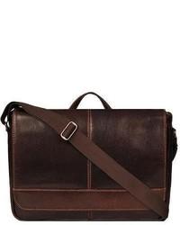 Wilsons Leather Dark Rugged Messenger Dark Brown