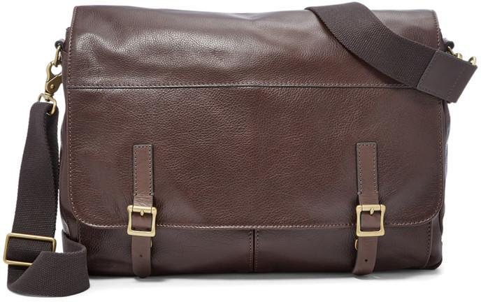 167a55774 ... Brown Leather Messenger Bags Fossil Defender Messenger ...