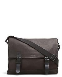 Kenneth Cole Leather Buckle Messenger Bag