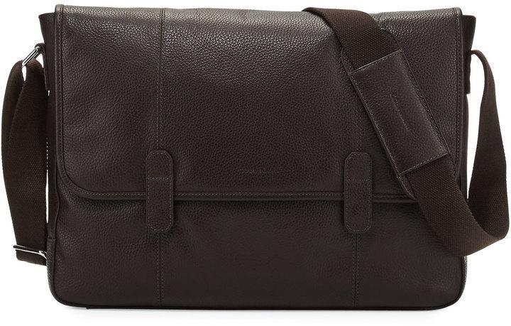 153 Cole Haan Pebble Leather Messenger Bag Chocolate