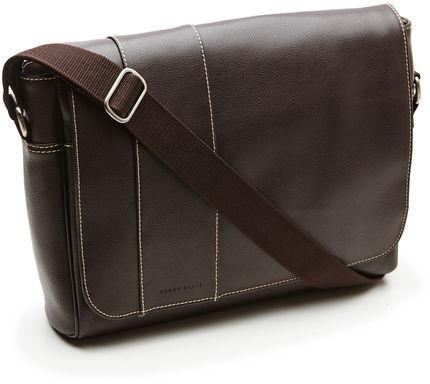 Perry Ellis Leather Messenger Bag