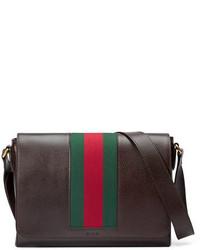 Textured leather messenger bag wweb brown medium 651155