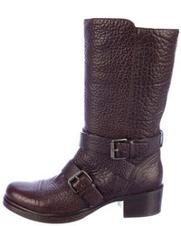 Miu Miu Leather Buckle Boots