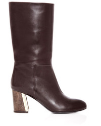 Rosetta getty natural calfskin and dark wood mid calf boot dark brown medium 173173