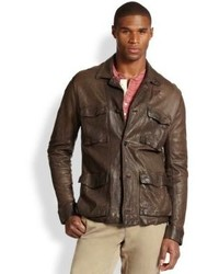 Dark Brown Leather Military Jacket