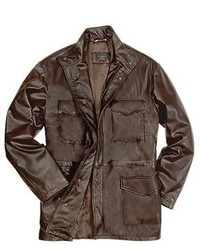 Forzieri Dark Brown Italian Four Pocket Leather Jacket