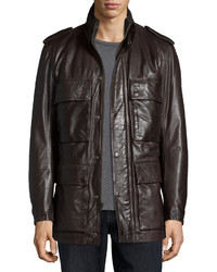 Andrew Marc Tompkins Utility Pocket Leather Jacket Dark Brown
