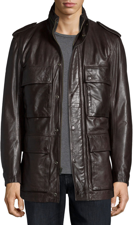 ... Military Jackets Andrew Marc Tompkins Utility Pocket Leather Jacket  Dark Brown ... 9558cf9454a