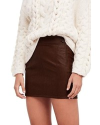Free People Retro Faux Leather Body Con Miniskirt