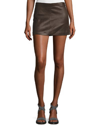 Brunello Cucinelli Soft Leather Side Zip Mini Skirt Brown