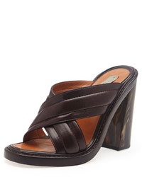 Dark Brown Leather Mules