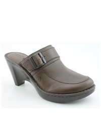 Elia Brown Leather Mules Shoes Newdisplay