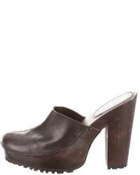 Miu Miu Leather Round Toe Clogs