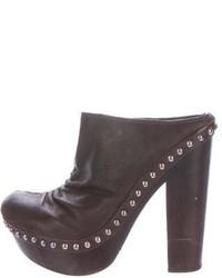 Miu Miu Leather Studded Clogs